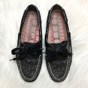Sperry Top Sider Black glitter & patent boat shoes